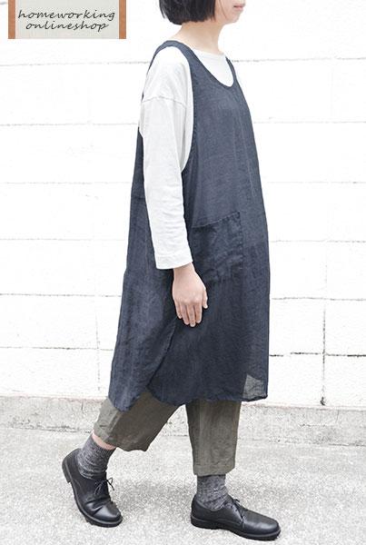 【ダークネイビー数量限定再入荷】【メール便送料無料】リネンシャンブレースリットワンピースエプロン(全2色)