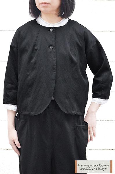 【送料無料】テンセルリネン ハオリジャケット(ブラック)