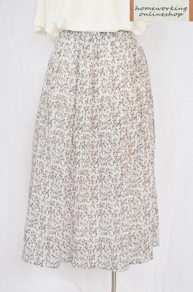 ≪ワケあり≫【SALE最終値下げ50%OFF】小花プリントギャザースカート(ホワイト)