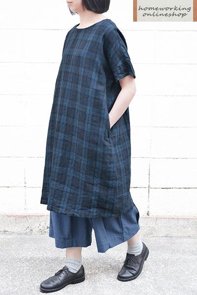 【送料無料】リネンチェックワイドワンピース(ネイビー)