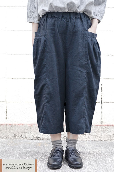 【送料無料】リネンキャンバス タックポケットパンツ(全2色)