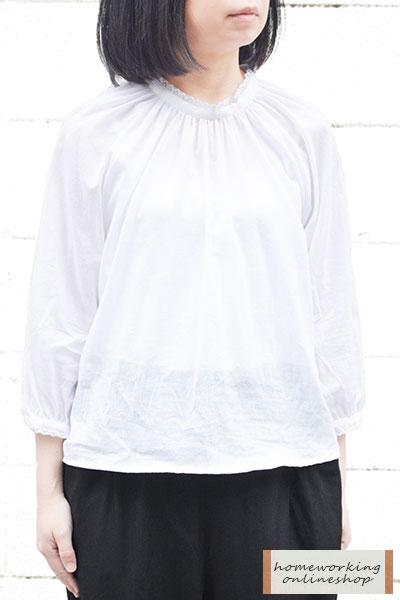 【SALE30%OFF】【メール便送料無料】シングルガーゼレースカラープルオーバー(全2色)