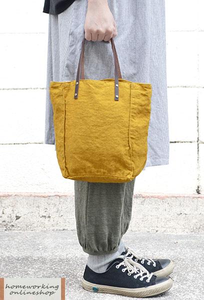 【再入荷】【メール便可1点まで】リネンキャンバス デイリーバッグ(全2色)