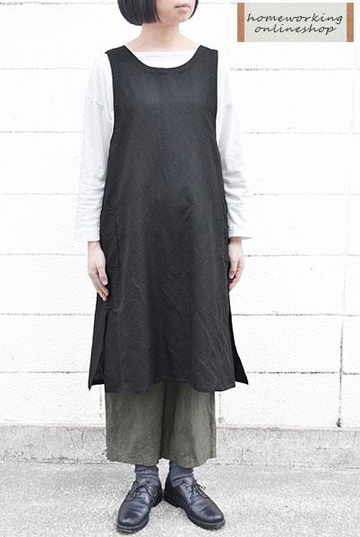 【ポイント2倍】【メール便送料無料】リネンコットン ロングエプロン(全3色)