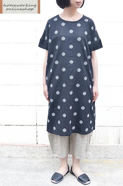 【SALE再値下げ40%OFF】【メール便送料無料】コットンリネン刺繍 ワイドワンピース(全2色)