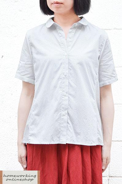 【メール便送料無料】コットンドットプリント 5分袖ブラウス(全2色)