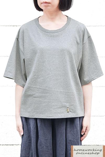【メール便可1点まで】16/-天竺刺繍Tシャツ おじいちゃんとネコ(全2色)