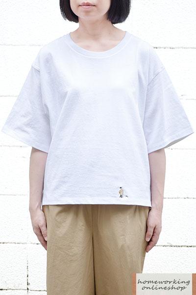 【ポイントUP 3%→9%】【メール便可1点まで】16/-天竺刺繍Tシャツ おじいちゃんとネコ(全2色)