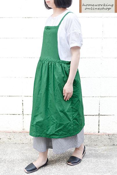 【メール便送料無料】コットンリネンクロスエプロン(全3色)