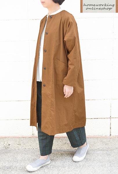【送料無料】30コーマバーバリー ノーカラーワイドコート(全3色)