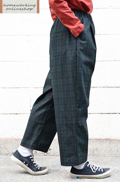 【メール便送料無料】綿麻キャンバスチェック ラウンドパンツ(グリーン)