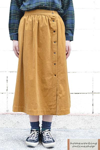 21W細コーデュロイギャザースカート(全3色)