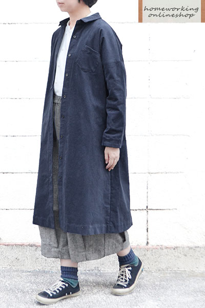 【SALE最終値下げ50%OFF】21W細コーデュロイハオリワンピース(ネイビー)