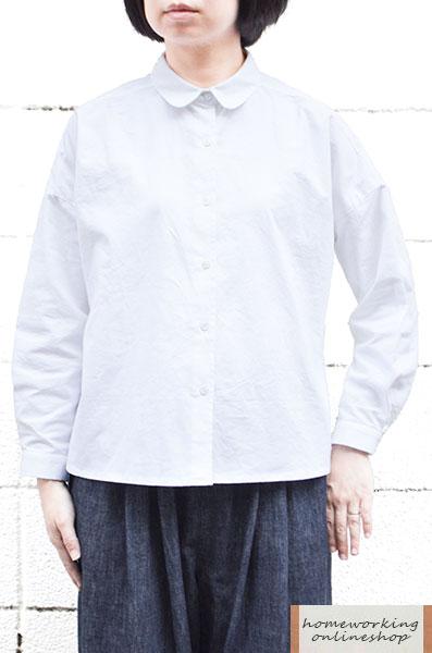 【メール便送料無料】フランネルコットン ラウンドカラーブラウス(全2色)