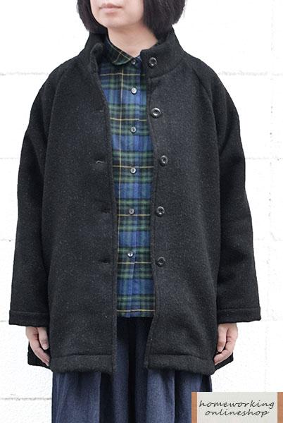 【送料無料】ウール混二重織り スタンドカラーコート(全2色)
