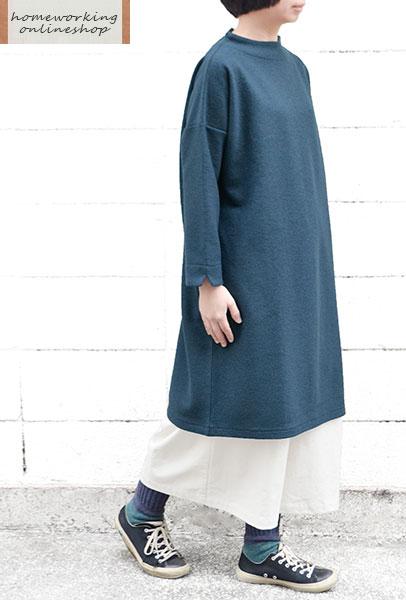 【送料無料】ウールブークレボトルネックワンピース(全2色)