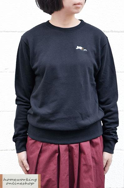 【再入荷】【メール便送料無料】裏毛刺繍 クルーネックプルオーバー(全2色)