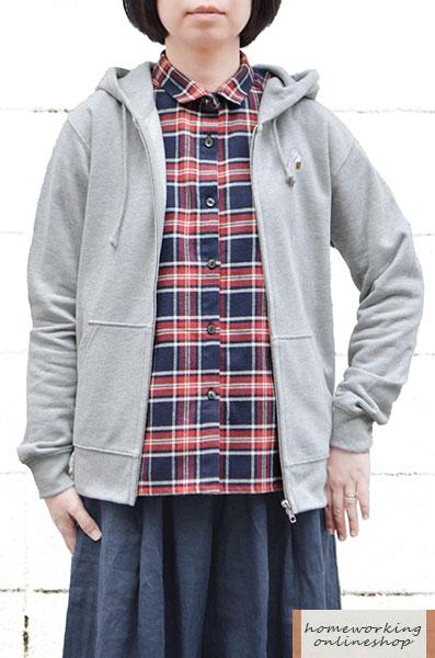 【再入荷】裏毛刺繍 ジップアップパーカー(全2色)
