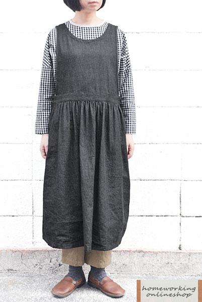 【メール便送料無料】6OZデニム エプロンワンピース(全2色)
