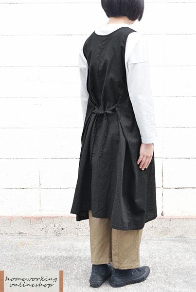 【メール便送料無料】コットンリネン ワンピースエプロン(全2色)