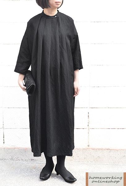 【送料無料】リネンレーヨンタックワンピース(ブラック)