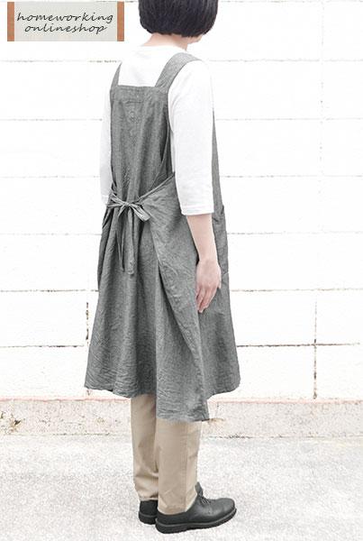 【メール便送料無料】5ozダンガリーワイドワンピースエプロン(全2色)