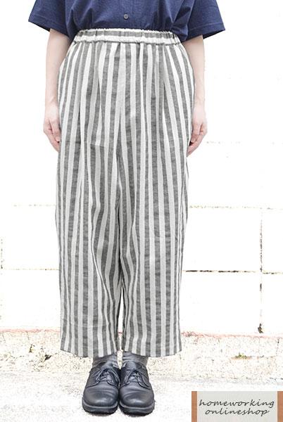 【メール便送料無料】綿麻ワイドストライプフィグパンツ(全2色)