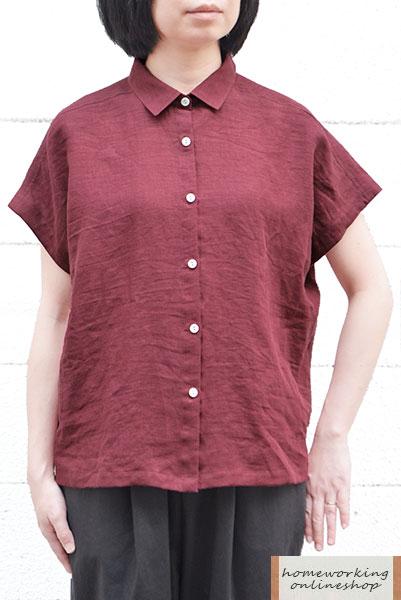 【SALE30%OFF】【メール便送料無料】フレンチリネンワッシャーワイドシャツ(全3色)