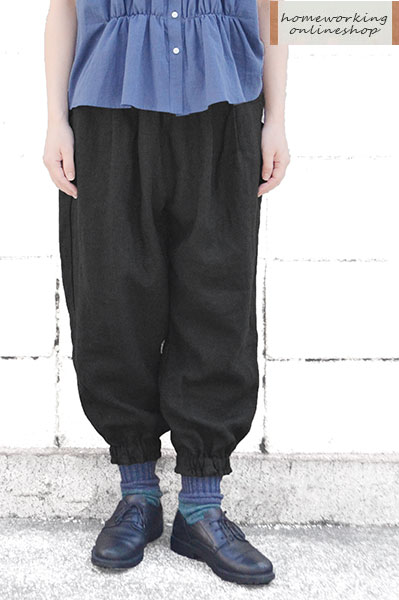 【SALE30%OFF】リネンキャンバス裾ギャザーパンツ(全3色)