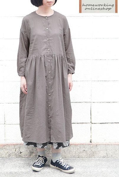 【メール便送料無料】60ローンワッシャー羽織りギャザーワンピース(グレイ)