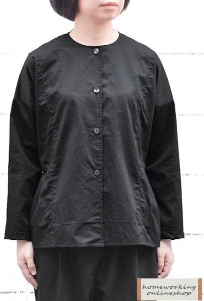 【SALE30%OFF】【メール便送料無料】高密度サテン切替タックジャケット(ブラック)
