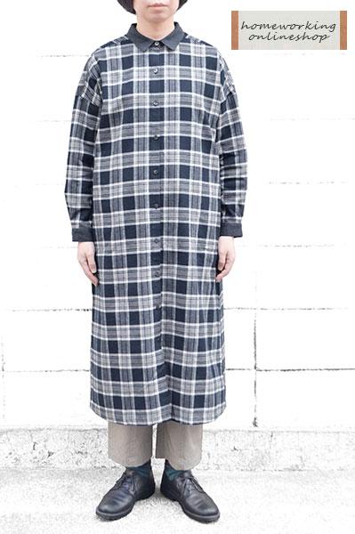 【SALE50%OFF】フランネルチェック シャツワンピース(ネイビー)