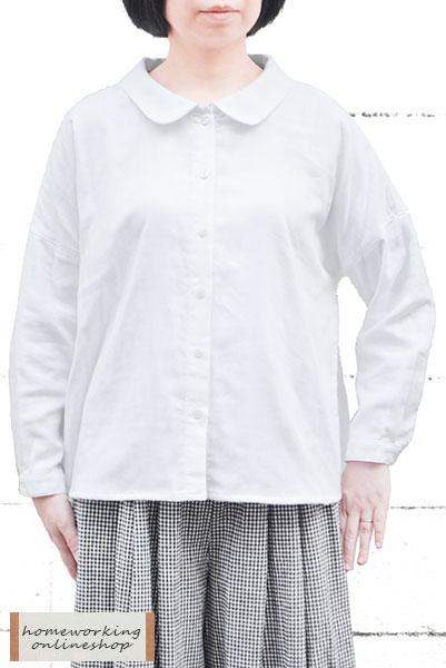 【メール便送料無料】トリプルガーゼ ラウンドカラーブラウス(全2色)