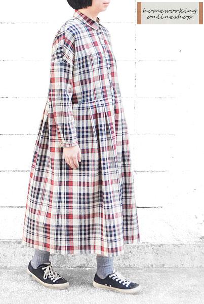 【ポイント3倍】【送料無料】コットンリネンチェックワイドシャツワンピース(全2色)
