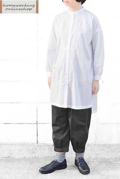 【メール便送料無料】コットン50ブロード ヨークロングブラウス(全2色)