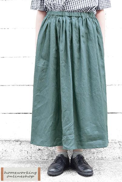 【送料無料】フレンチリネンキャンバスギャザースカート(全2色)