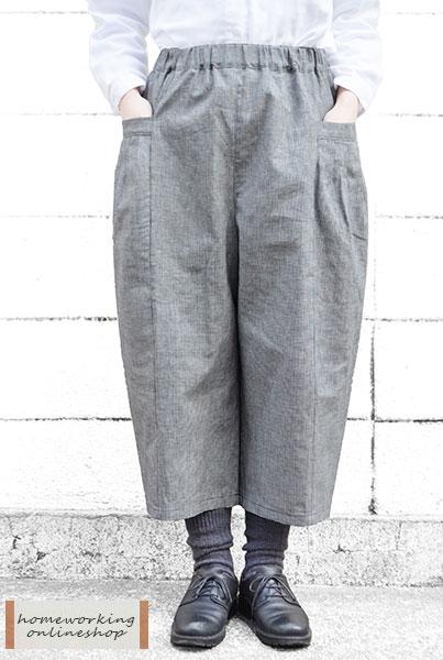【送料無料】コットンリネンタックポケットパンツ(全2柄)