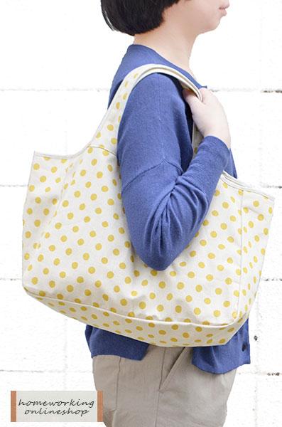 【GW企画・柄ものポイント2倍】コットンリネンドットデイリーバッグ(全3色)【2点までメール便可】