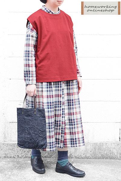 【送料無料】コットンリネンチェックワイドシャツワンピース(全2色)