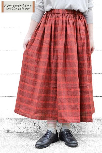 【SALE最終値下げ50%OFF】リネンチェックギャザースカート(全2色)