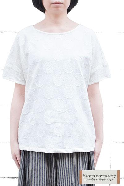 【メール便送料無料】綿麻カットジャガードボートネックプルオーバー(ホワイト)
