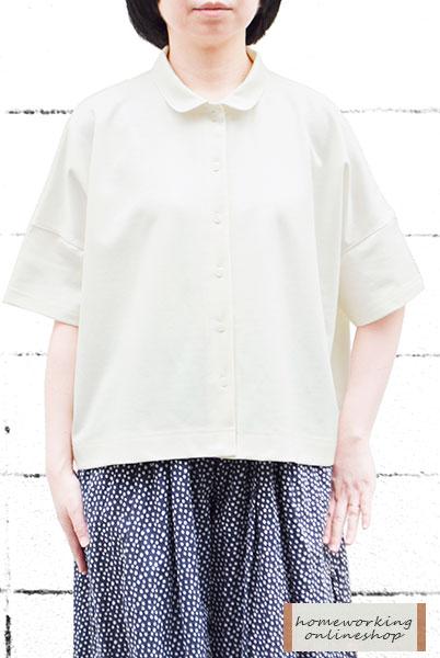 【メール便送料無料】リネン混ジャージーラウンドカラーブラウス(全2色)