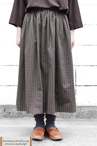 【ポイント3倍】小花プリントギャザースカート(全2色)