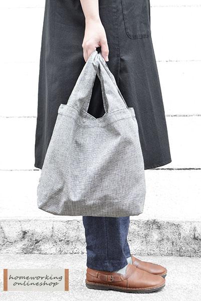リネンコットンミニマルシェバッグ(全2色)【メール便可1点まで】