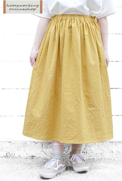 【SALE最終値下げ50%OFF】リネンコットンキャンバスギャザースカート(全2色)