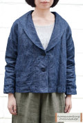 【送料無料】リネンデニム/ツイル ショールカラージャケット(全2色)