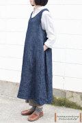 【送料無料】リネンデニムジャンパースカート(ネイビー)