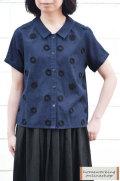 【送料無料】コットンリネン刺繍 ブラウス(全2色)