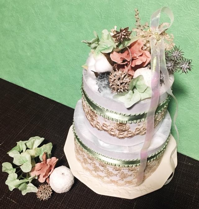 《おむつケーキ》グリーンスノー・出産祝い・インテリア・オリジナル・手作り・ベイビーシャワー・ギフト・限定品