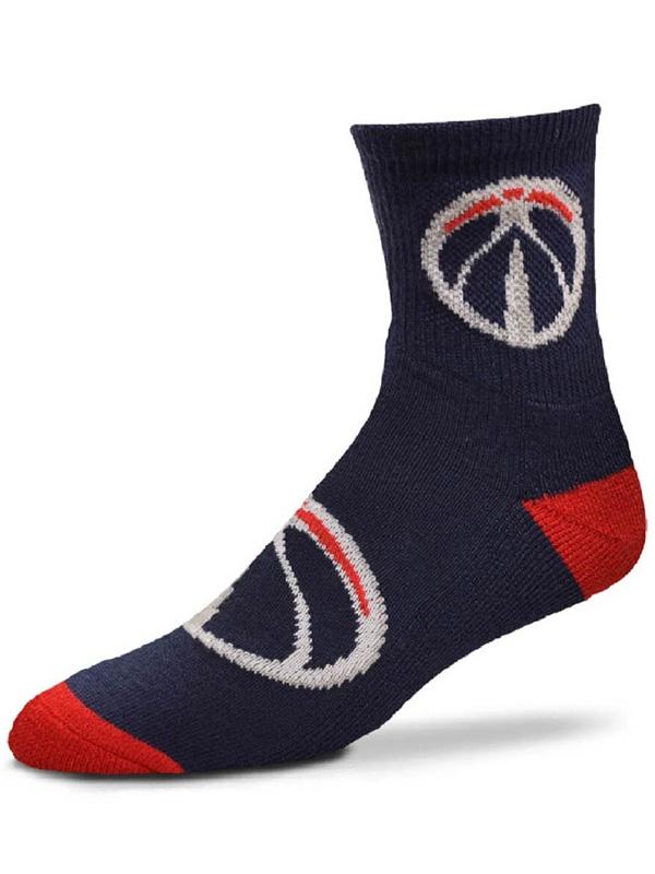 BK284 【SALE】【メール便対応】 For Bare Feet NBA Washington Wizards ワシントン・ウィザーズ クォーター  バスケットボール ソックス 紺赤白 【23cm~26.5cm】